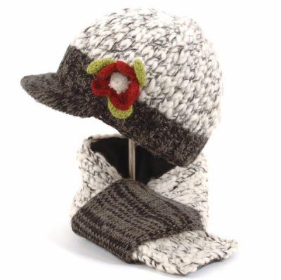 ede47132e Aran Cable Peak Hat & Handwarmers Green PK927 - Erin Knitwear