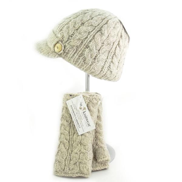 1bbcdaa6dad Aran Cable Peak Hat Oatmeal PK927 - Erin Knitwear